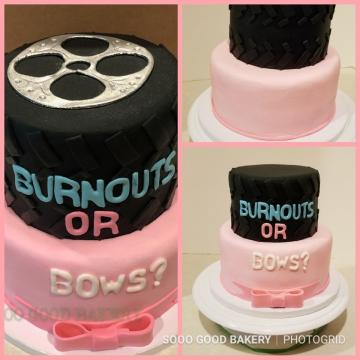 Your cake can reveal the gender by having the interior of the cake to show gender color when cut.  Call us for details or to set an appointment to plan your event.